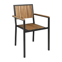 Bolero Steel & Acacia Wood Arm Chair