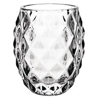 Olympia Glass Diamond Tealight Holder Clear (Box 6)