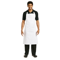 Bib Apron White with Eyelets Polycotton XLarge - 36-42