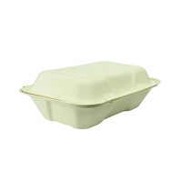 "Compostable Hinged Meal Box - 9x6"" (Box 200)"