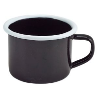 Enamel Mug Black with White Rim 12cl/4.2oz