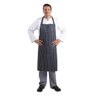 Navy Butchers Stripe Bib Apron XL