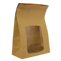 Compostable Brown Food Bag with Window 6x3x9 (Case 250)