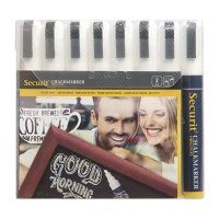 Securit White Narrow Markers - 6mm Nib (Pack 8)