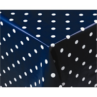 Navy Polka Dot PVC Table Cloth 1370x 2280mm. 54x 90""
