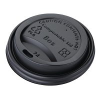 Biodegradable PLA Lid for Coffee Cups Black- 8oz (Pack 50)
