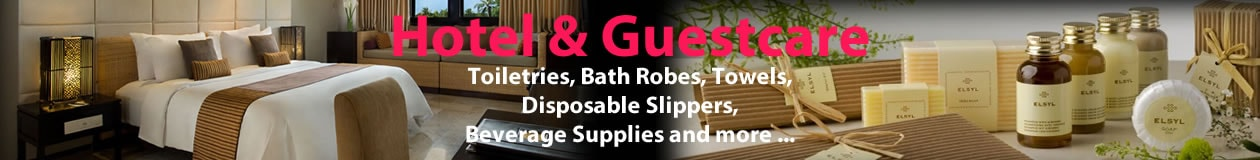 Browse the range of Hotel Guest shampoos, baths gel, disposable slippers and more