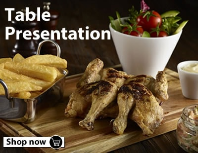 Browse our sauce ramakins, table caddys, bread baskets