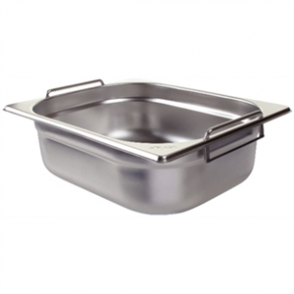 Vogue Stainless Steel 1/2 Gastronorm Pan With Handles 100mm