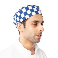 Skull Cap Big Blue Check Polycotton - One Size