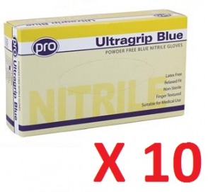 Pro Ultragrip Blue Nitrile Gloves - Powder Free (10 boxes per case)