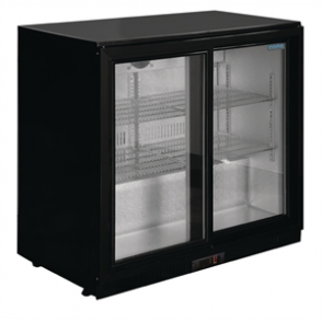 Polar Double Sliding Door Back Bar Chiller in Black with LED Lighting