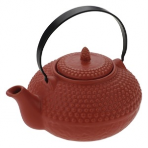 Ceramic Oriental Hobnail Teapot Red 850mls