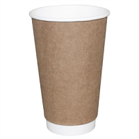 Fiesta Double Wall Takeaway Coffee Cups Kraft 340ml / 12oz x 25