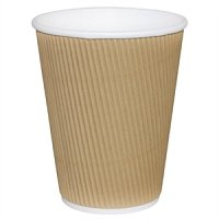 Fiesta Takeaway Coffee Cups Ripple Wall Kraft 8oz (25pp)