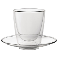 Utopia Double Walled Cappuccino Glass and Saucer 220ml (Pack of 6)