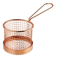 Olympia Round Chip Presentation Basket With Handle Copper