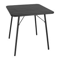 Bolero Slatted Square Steel Table Black 700mm