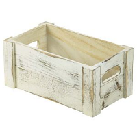 Wooden Crate White Wash Finish 27 x 16 x 12cm