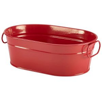 Galvanised Steel Serving Bucket Red 23 x 15 x 7cm