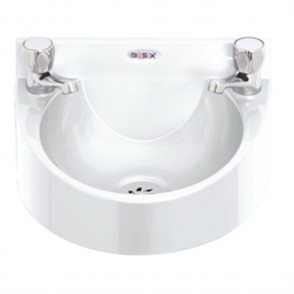 Basix Polycarbonate Wash hand Basin (White) c/w Dome head Taps