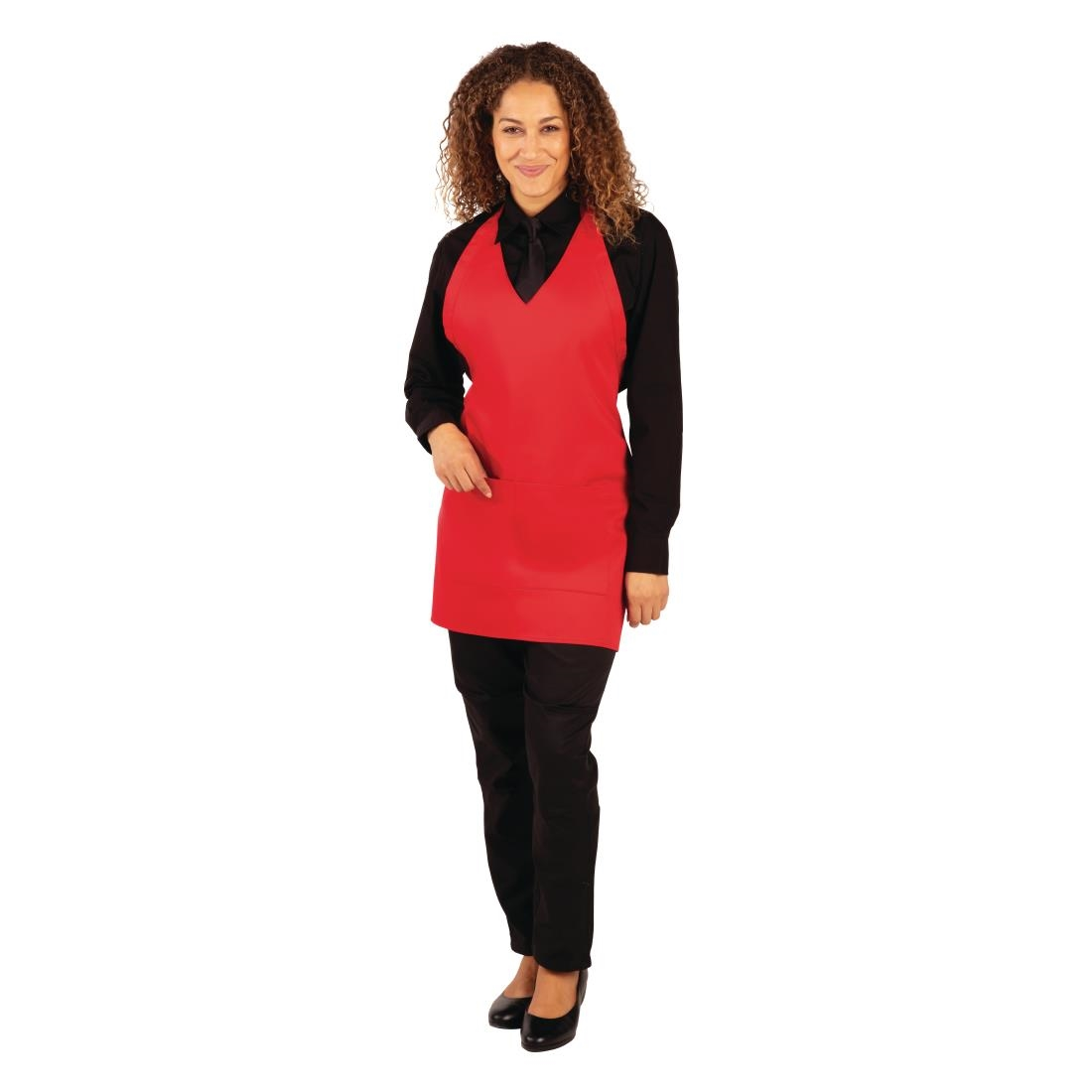 Whites V Neck Service Apron - Red