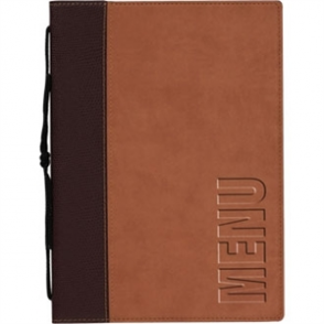 Contemporary Menu Holder - A5 Light Brown. 1 Insert (4 pages)