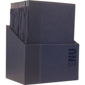 Contemporary Menu Holder Set - Blue A4 (Pack 20 with Stand Box)